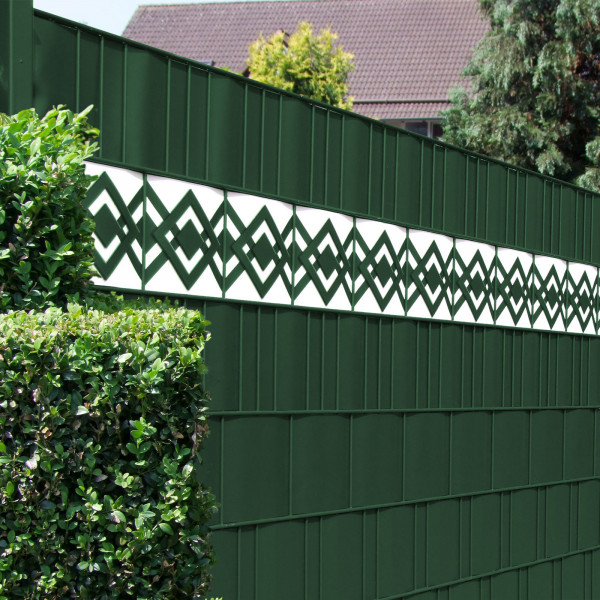 Zaun Design Streifen Motiv Karo Tape im Gartenzaun weiß - grün