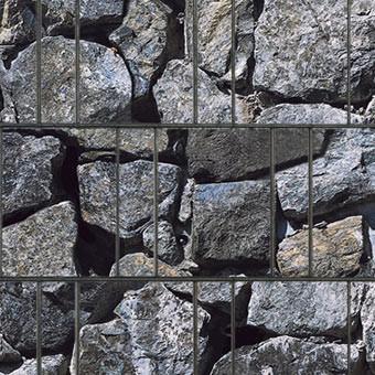 PES Sichtschutzstreifen Motiv Bruchstein groß Detailansicht