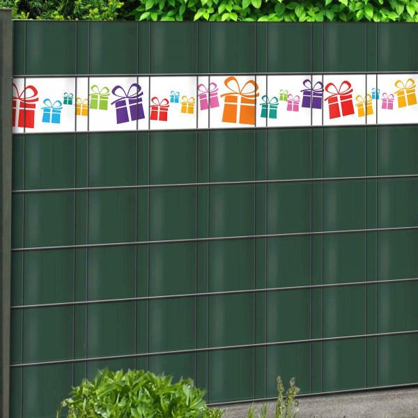 PVC Sichtschutz Streifen Geschenke mit grünem Sichtschutz kombiniert