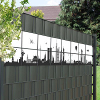 Sichtschutzzaun mit Skyline von Frankfurt