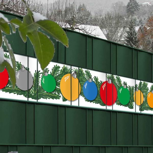 PVC Sichtschutz Streifen Christbaumkugeln als Zaundekoration