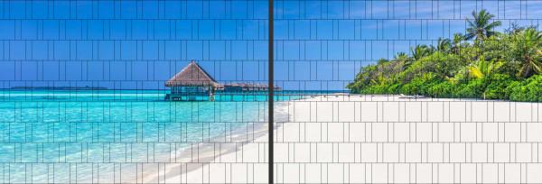 Panorama Zaun-Sichtschutz Motiv Südseestrand 180cm x 510cm