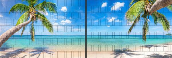 Panorama Zaun-Sichtschutz Motiv Tropischer Strand 180cm x 510cm