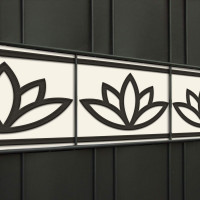 Design Zaunstreifen Motiv Lotusblume im Gitterzaun