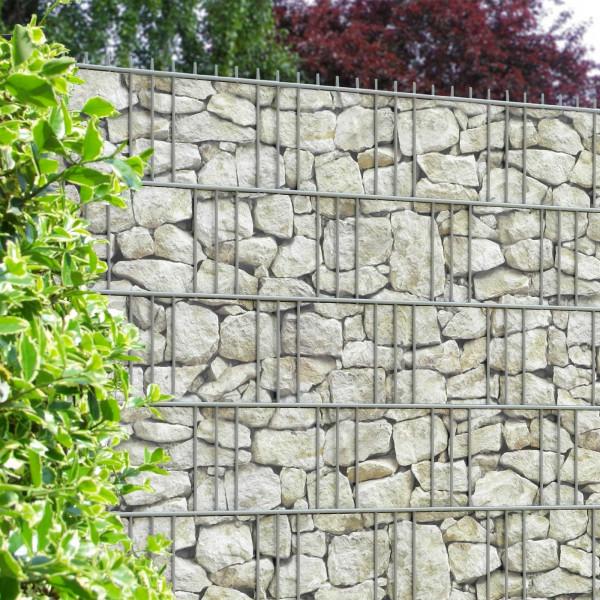 Bedruckte Sichtschutzstreifen für Gittermattenzaun, Motiv Sandstein Toscana am Zaun Beispiel