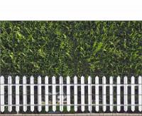 Bedrucktes Zaunposter Sichtschutz Motiv Weisser Zaun und Hecke 9 Streifen
