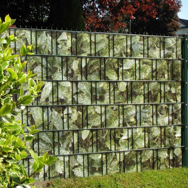 Bedruckte Sichtschutzstreifen für Gittermattenzaun, Motiv Aukub Hecke Anwendung Zaun