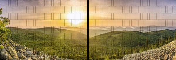 Panorama Zaun-Sichtschutz Motiv Sonnenaufgang