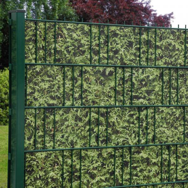 Bedruckte Sichtschutzstreifen für Gittermattenzaun, Motiv Thuja Anwendung Zaun