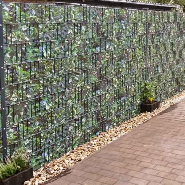Hart PVC Sichtschutzstreifen Motiv Kirschlorbeer im Gartenzaun