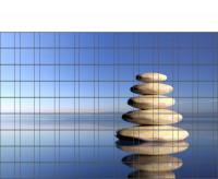 Bedrucktes Zaunposter Sichtschutz mit Zen-Steine Motiv 9 Streifen
