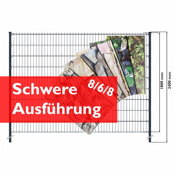 Doppelstabmattenzaun Set schwere Ausführung inklusive Hart-PVC print Streifen
