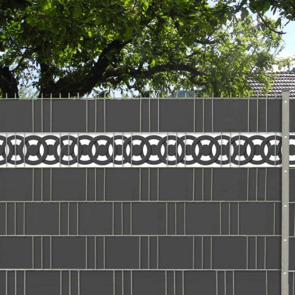 Zaun Design Streifen Motiv Circle Point im Garten