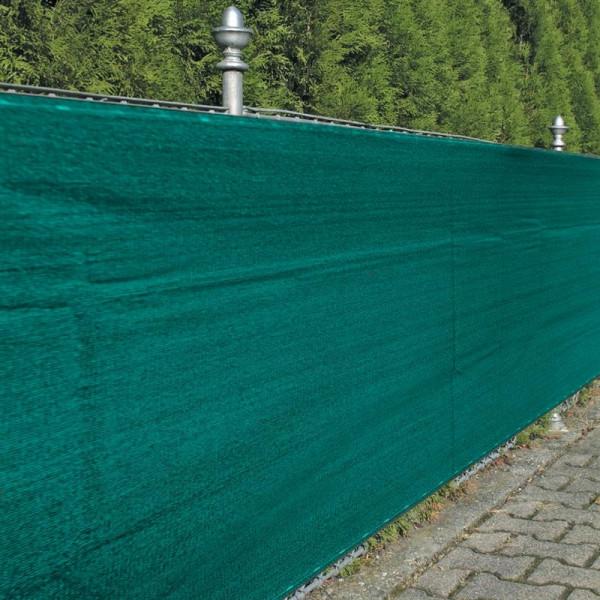 Winddurchlässige Zaunblende in grün, Beispiel