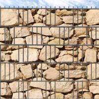 Hart-PVC Sichtschutz für den Gitterzaun bedruckt Ibiza Steinmauer