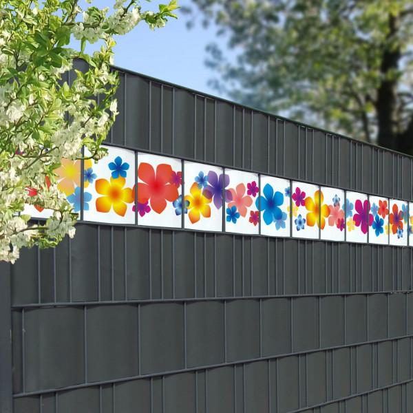 Bedruckte Kreativstreifen Motiv Bunte Blumen, Beispiel im Zaun