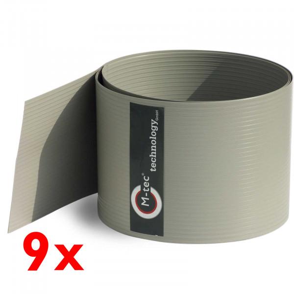 Hart-PVC Sichtschutz in Steingrau im 9-Streifen-Set