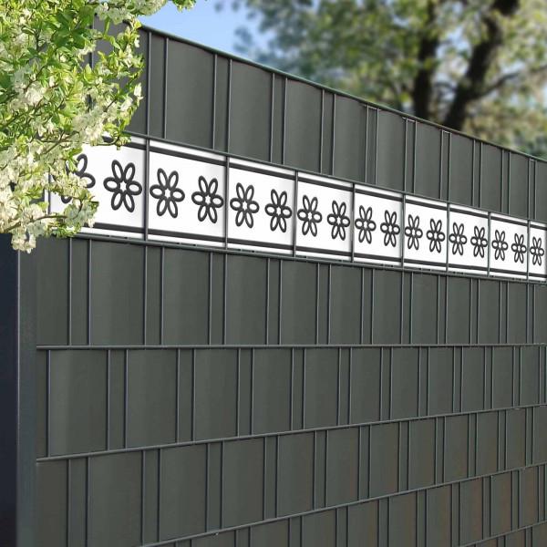 Design Zaunstreifen Motiv Flora kombiniert mit Sichtschutzstreifen Anthrazit