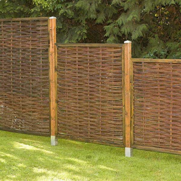 Garten Sichtschutz Weidenzaun exklusiv mit Holzpfosten