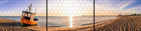 XXL Panorama Zaunposter Sichtschutz Motiv Boot am Strand