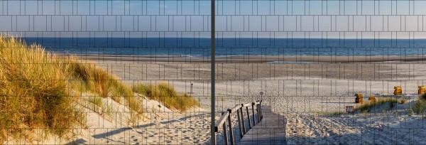 Panorama Zaun-Sichtschutz Motiv Strandweg 180cm x 510cm