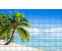 Bedrucktes Zaunposter Sichtschutz mit Palmenstrand 9 Streifen