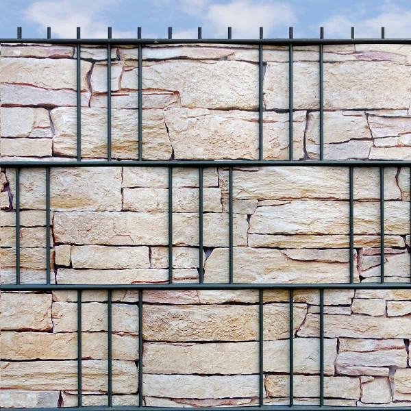 Hart PVC Sichtschutzstreifen bedruckt Sandstein Tessin Detailansicht