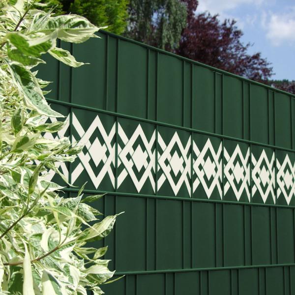 Zaun Design Streifen Motiv Karo Tape im Gartenzaun grün - weiß