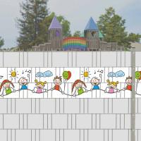Bedruckte Kreativstreifen Motiv Happy Kids an einem Spielplatz