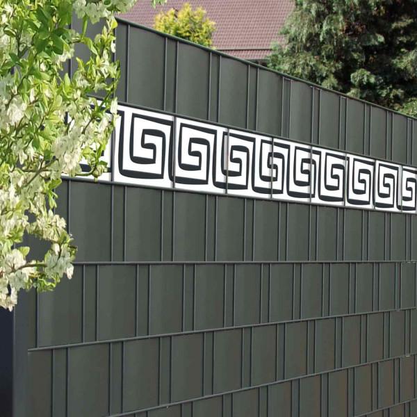Zaun Design Streifen Mäander in Sichtschutzzaun
