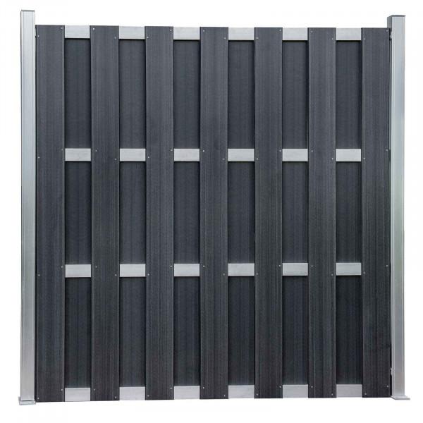 WPC Zaun Element in Anthrazit 180 x 180cm als Sichtschutz für den Garten