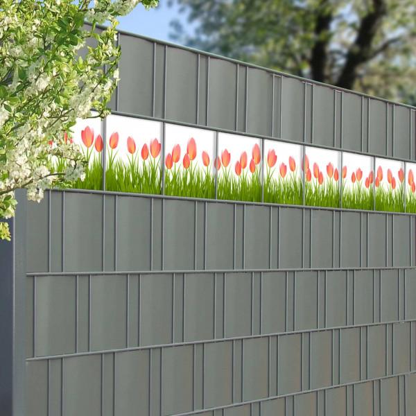Bedruckte Kreativstreifen für Gittermattenzaun, Motiv Tulpen ,Detail