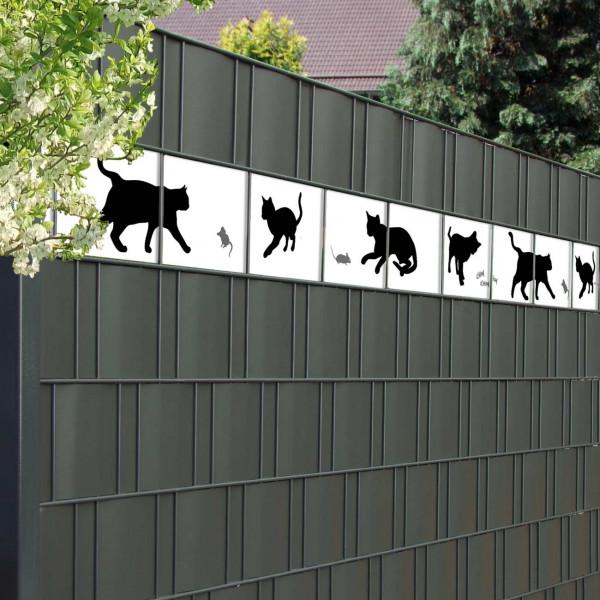 Bedruckte Kreativstreifen Motiv Katzen, Beispiel im Zaun