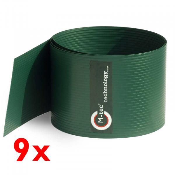 Hart-PVC Sichtschutz in Grün im 9-Streifen-Set