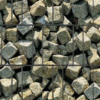 PES Sichtschutzstreifen Motiv Granitwürfel Detailansicht