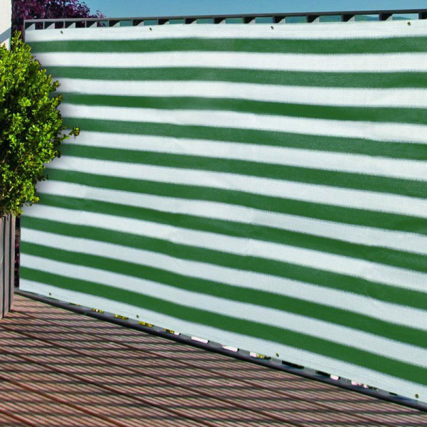 Balkonblende textil grün-weiß mit Ösen