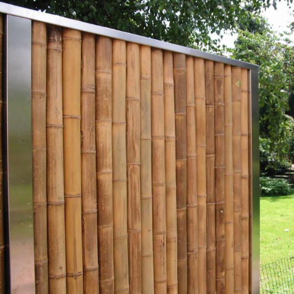 Bambuswand komplett Beispiel Edelstahlrahmen