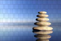 Bedruckter Zaun Sichtschutz Zen-Steine