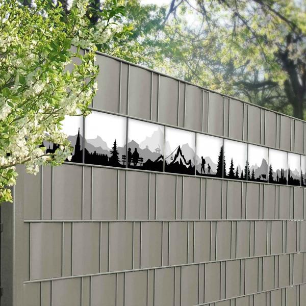 Bedruckte Kreativstreifen Motiv Alpen, im Zaun