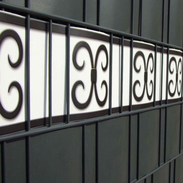 Design Zaunstreifen Motiv Merano Farbkombination Weiß-Anthrazit im Gitterzaun