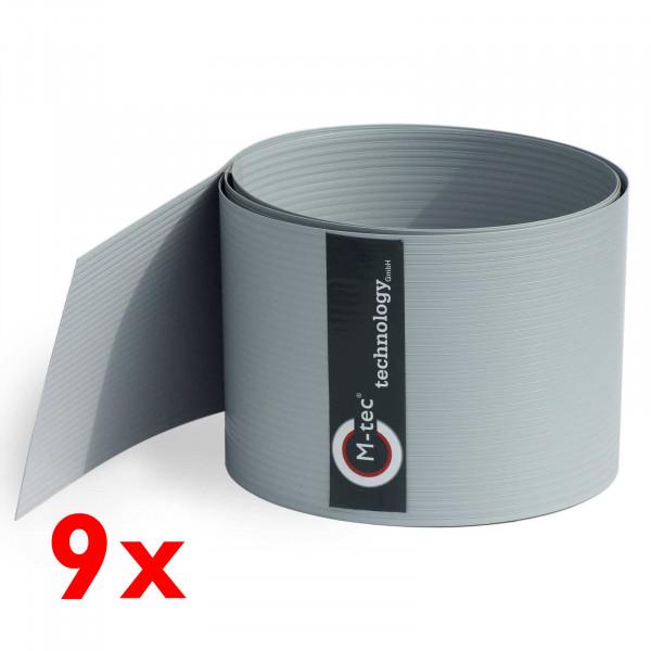 Hart-PVC Sichtschutz in Lichtgrau im 9-Streifen-Set