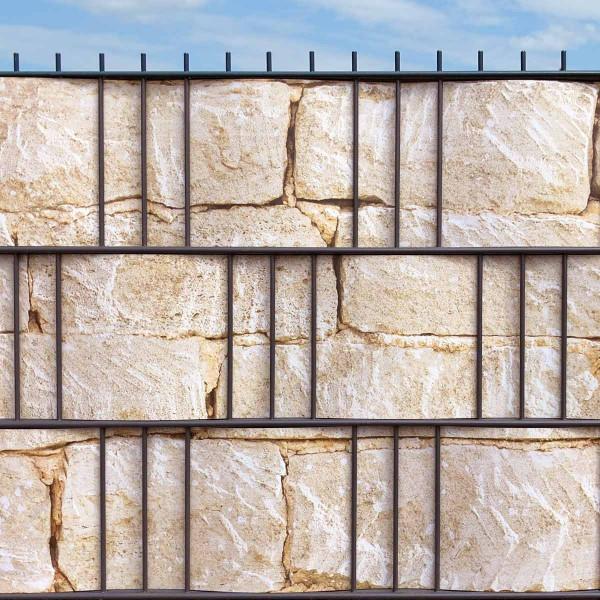 Hart PVC Sichtschutzstreifen Motiv Sandsteinmauer 3 Streifen Detailansicht