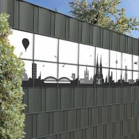 Bedruckte Kreativstreifen Motiv Köln Skyline im Garten, Beispiel
