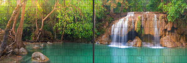 Panorama Zaun-Sichtschutz Motiv Wasserfall 180cm x 510cm