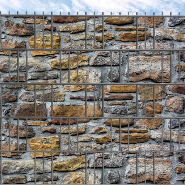 Hart-PVC Sichtschutz-Streifen bedruckt mit Normandie Steinmauer