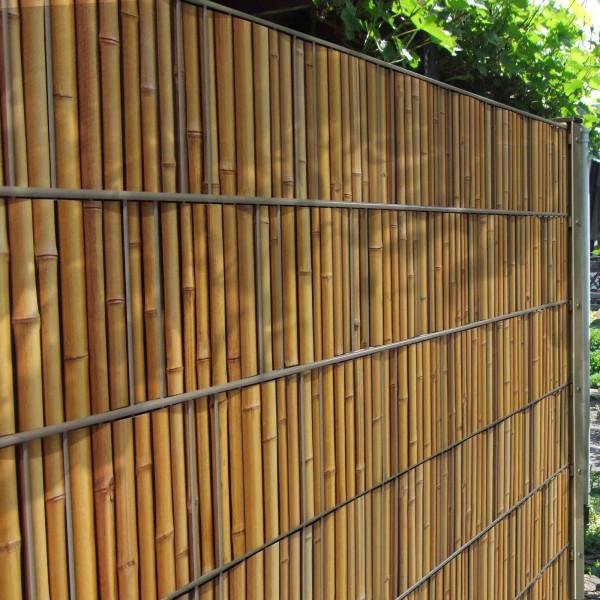 Bedruckte Sichtschutzstreifen Motiv Bambus am Zaun
