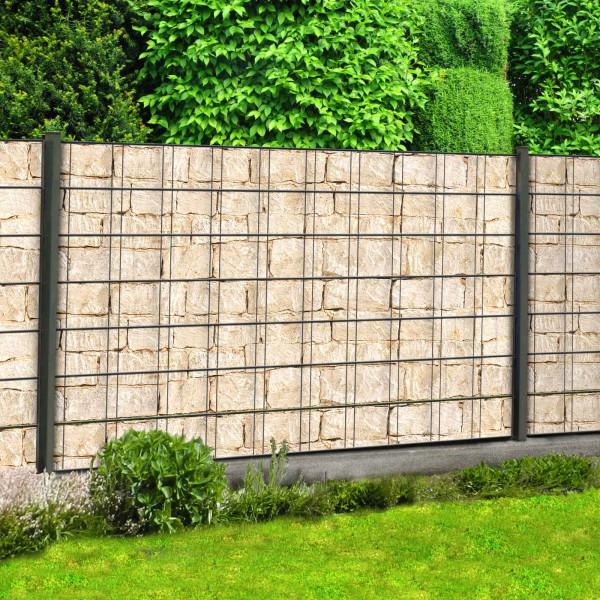 Bedruckte Sichtschutzstreifen Motiv sandsteinmauer im Garten Beispiel
