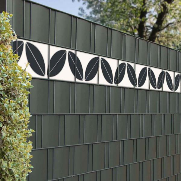 Sichtschutzzaun mit Zaun Design Streifen Motiv Blatt